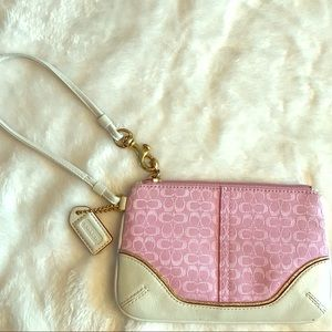 Coach wristlet in pink, ivory and gold trim